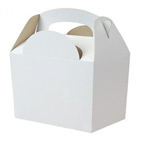 6x Blanco sin Líneas Cajas Fiesta Comida Lonchera de Cartón ...