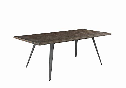 Fremont Live Edge Dining Table Dark Rustic Brown and Gunmetal