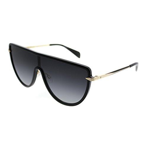 Rag & Bone RNB 1008/S 2M2_9O Jupiter Black Gold Plastic Shield Sunglasses Grey Gradient Lens