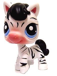 Hasbro Littlest Pet Shop Zebra # 392 (White with Black Stripes and Blue Eyes) - LPS Loose Figures - Replacement Pets - LPS Collector Toy (Out of Package/OOP)