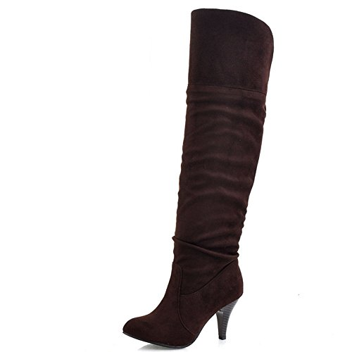 on Classical Brown Boots Pull Stiletto Long Winter Shoes Women TAOFFEN Autumn 5gXxF1g
