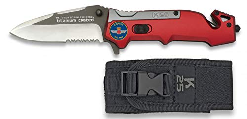 K25-19705GR1016 - Navaja K25 Titanio/roja. Titanio/roja. K25 H:8.7 - Herramienta para Caza, Pesca, Camping, Outdoor, Supervivencia y Bushcraft 8a2ef9