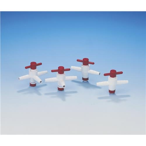 Bel-Art F30895-0000 Science Ware Stopcock, 3-Way Connection, 4mm Bore Size, PTFE (Pack of 6)