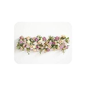 Custom 1 m Wedding Backdrop Arch Decor Artificial Flower Row Decor Flower Arch Road Lead Flower Arrangement Silk Flower Wall 1pc,002 67