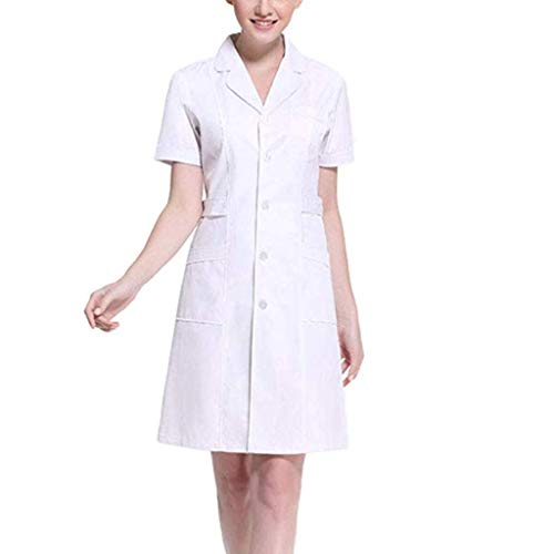 ACSUSS Womens Slanting Button Front Hospital Nurse Scrub Lab Coat Uniform Dress 2# White XX-Large