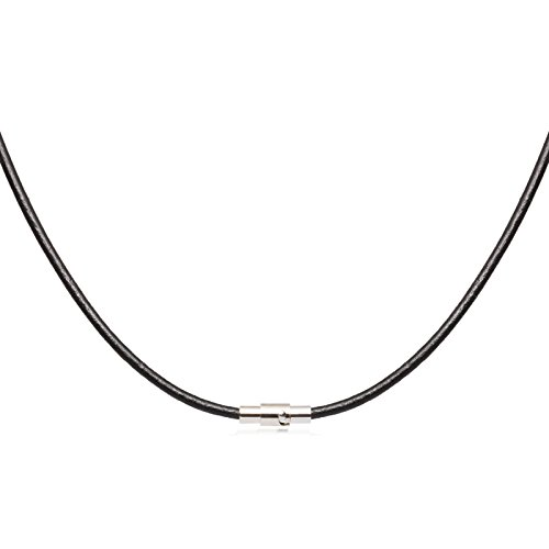 2mm Black Leather Cord Necklace Choker with Silver Toned Magnetic Lock Clasp 16