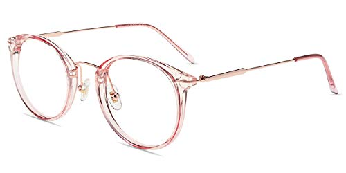 Firmoo Women Blue Light Blocking Glasses Fashion Large Round Computer Glasses Non Prescription Anti Eye Strain Pink Clear Frame Eyewear