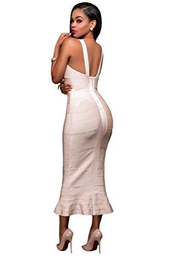 Verband elegante Kleider Frauen Aprikose Fishtail Partei Qualitäts Luxe Kleid Abend 4CIRqqg5n