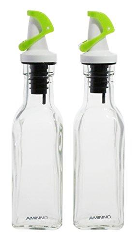 Aminno Stylish Set Of 2 Glass Oil and Vinegar Bottle / Dispenser / Cruet- Green Lids, 175ml/ 6oz