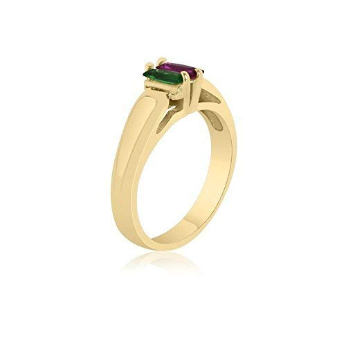 2 Birthstone Family Ring 10K Yellow Gold Rectangle Stone Ring