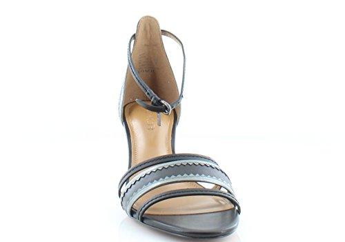 Scarpe Da Donna Maxi In Pelle Open Toe Sandali Slingback Casual Nero / Canna Di Fucile Opaco Vitello / Specchio Metallico