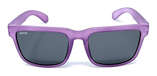 Frosted Frame - Polarized Sunglasses with UV400 Protection for Men and Women by WYCO Style - Colorful Frosted Frame Sunglasses (Purple, Black)