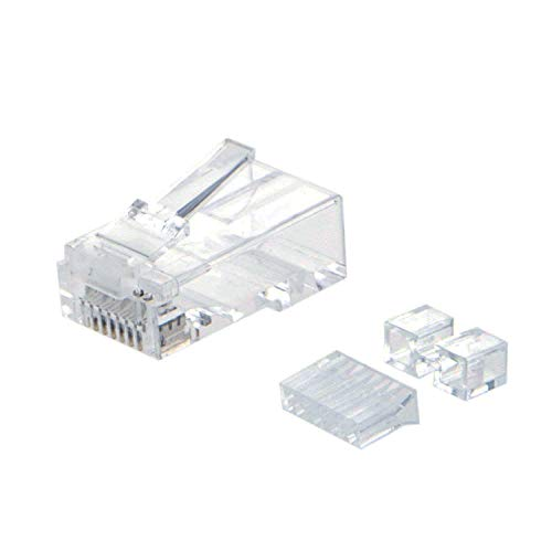 (CableCreation 100-PACK Cat 6A RJ45 Modular Plug (Three-Piece Suit), UTP Network Connector for Solid Wire and Standard Cable, Transparent)
