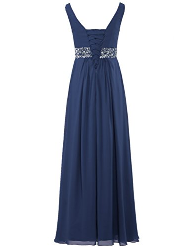 Long Gown Tank Neck V Chiffon Navy Bead Women's Prom Dresses ANTS TqwpCY0w