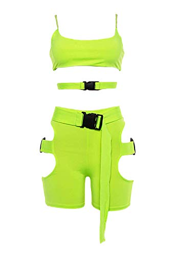 - Women's Bodycon 2 Pieces Outfits Spaghetti Strap Cutout Buckle Tank Crop Top High Waist Shorts Tracksuit Set Clubwear Green