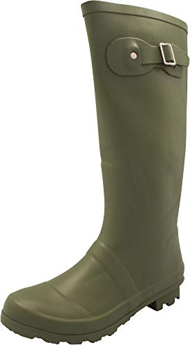 NORTY - Womens Hurricane Wellie Solid Matte Hi-Calf Rain Boot, Olive 40709-7B(M) ()