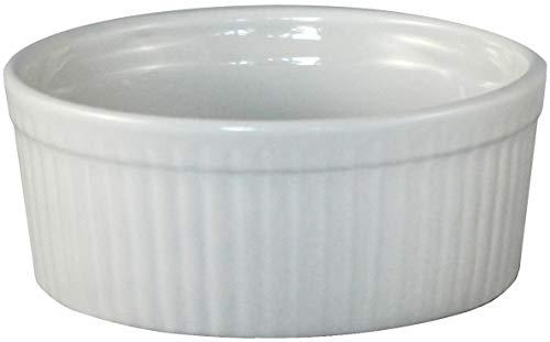 ITI Ceramic Stackable Baking Ramekins/Condiment Sauce Cups with Pan Scraper, Medium/Large, 4-Pack (6 Ounce, Bone White)