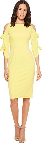 Donna Morgan Women's Tie Sleeve Midi Dress, Sunny Yellow, 4