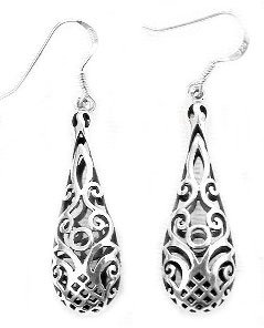 Filigree Teardrop Silver Earrings OBWAyd2l5