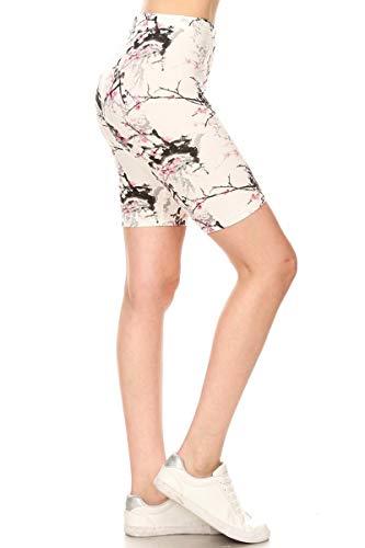 (Leggings Depot LBK-S701W-M Floralsque Printed Biker Shorts,)