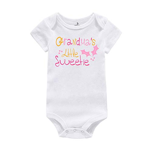 WINZIK Baby Infant Girl Bodysuit Outfit Grandma's Little Sweetie One-Piece Romper Jumpsuit T-Shirt Clothing (Tag 6M, White-Short Sleeve) -