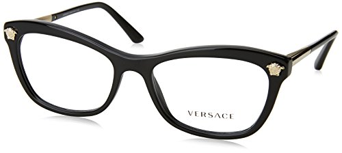 Versace VE3224 Eyeglass Frames GB1-54 - Black - Versace Eyeglasses Women For