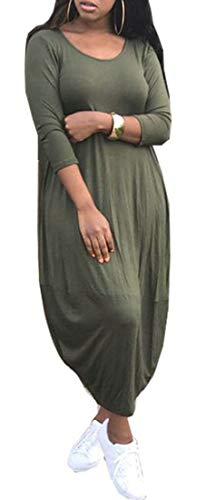 Les Femmes Domple Manches Longues Poches Ras Du Cou Solide Robe Maxi Ourlet Bulle Verte