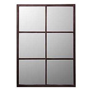 Delamaison Miroir Industriel rectangulaire en métal Rouille Teke