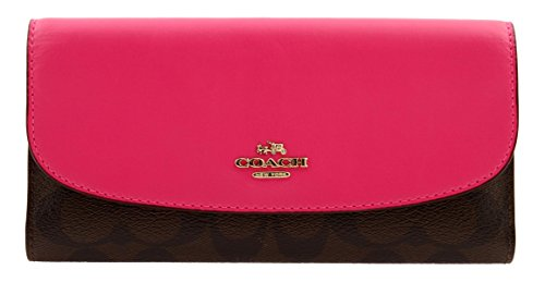 COACH Signature Coated Canvas Checkbook Wallet in Bright Fuchsia, F57319