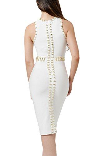 metálicos blanco adornos Vestido Dear Bandage L Lover con talla w1Cxg