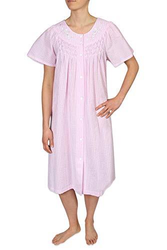 Misses Seersucker - Miss Elaine Plus Size Women's Short Seersucker Snap Robe with Short Sleeves