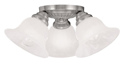 Livex Lighting 1529-91 Edgemont 3-Light Ceiling Mount, Brushed Nickel