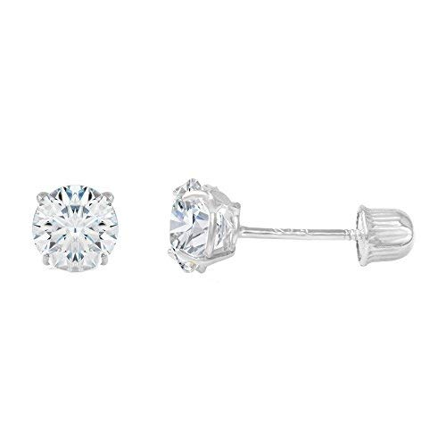 Ioka - 14K White Gold Round Solitaire Cubic Zirconia CZ Stud Screw Back Earrings - 0.5ct (5mm)