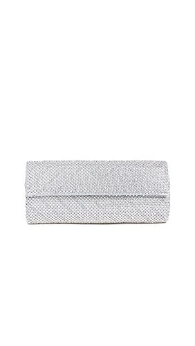 Mesh Metallic Evening Bag (Whiting & Davis  Crystal Chevron Flap Clutch,Silver,One Size)