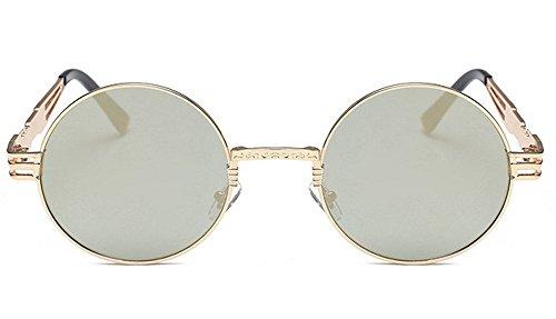 Marco JUNHONGZHANG del Resorte del La De del F Sol Vidrios Señora La Manera Gafas De Sol Las Vidrios Piernas De Gafas Retros Redondas De Metal De npWrpqXwS