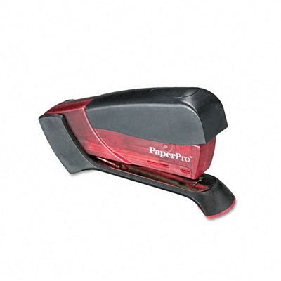 PaperPro Products - PaperPro - Compact Stapler, 15 Sheet Capacity, Translucent Pink - Sold As 1 Each - Staple with less effort! - Patented one finger spring-powered stapling in a compact design. - Ergonomic styling with non-slip rubberized handle and base. - Stands vertically and horizontally. - Drop in loading with half strip capacity (105 staples). Accentra Compact Stapler