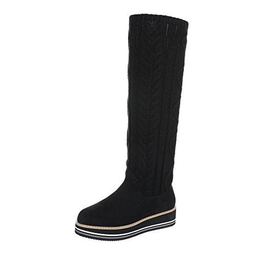 Zapatos para mujer Botas Plano Mosqueteras Ital-Design Negro