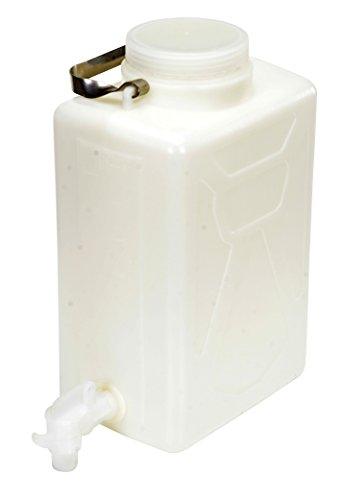 Vestil CARB-2-SSH-S Wide Mouth High Density Polyethylene (HDPE) Rectangular Carboy with Stainless Steel Handle and 3/4' Polyethylene Spigot, 2 Gallon Capacity, Natural