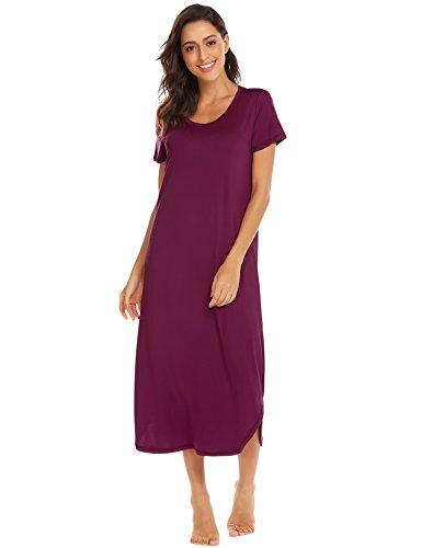 Ekouaer Long Nightgowns for Women,Short Sleeve Full-Length Night Shirt Loungewear