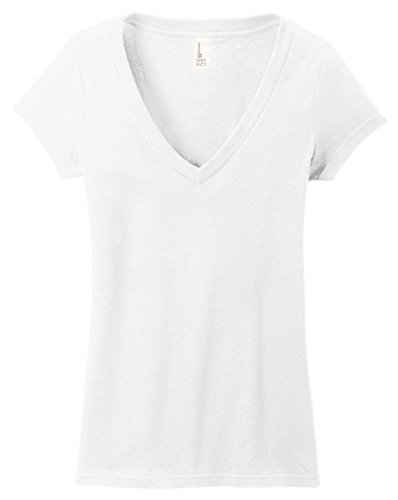 f76fb8d03 District Juniors Very Important T-Shirt Deep V-Neck, White, X-