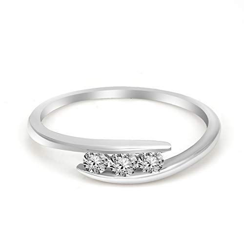 100% Pure Diamond Ring Three Stone Tension Setting Diamond Ring 1/5ct IGI Certified Lab Grown Diamond Engagement Rings For Women Lab Created Diamond Rings SI-GH 10K Real Diamond Band - Si Ct 0.18 Diamond