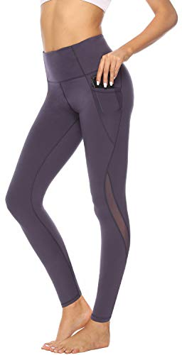 (High Waisted Leggings with Pockets Yoga Pants for Women Athletic Running Activewear Leggings Spandex Mesh Tummy Control Sports Legging Purple)