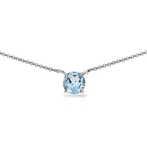 Sterling Silver Blue Topaz 7mm Round-cut Dainty Choker Necklace