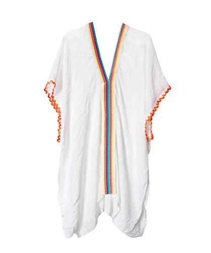 Rainbow Caftan - Hiheart Women V-Neck Beachwear Bathing Cover Up Kantan Swimsuit US 4-10 White