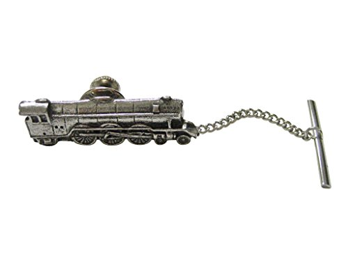 Silver Toned Textured Locomotive Train Tie Tack by Kiola Designs