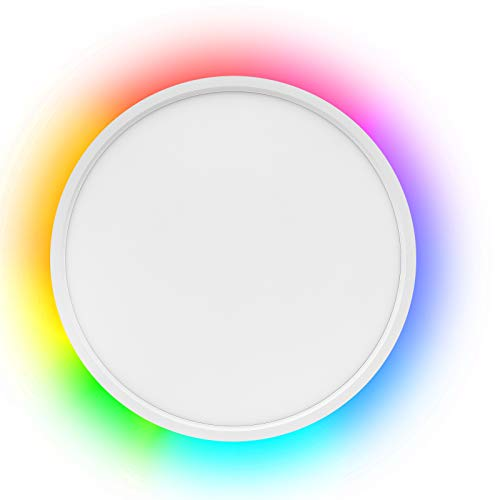 Smart LED Flush Mount Ceiling Light WiFi, Works with Alexa Google Home, 12inch 24W Adjustable Light with Ambient Light…