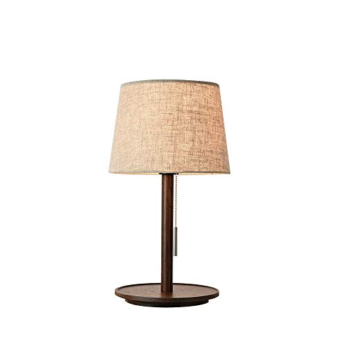Senna House SH-63331A Nordic Eye Protection Table lamp,Bedroom Bedside Table lamp,Rope Switch Table lamp,Wooden Table lamp,Fabric lamp Shade Table lamp,Beige Table lamp