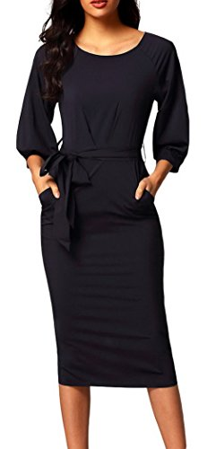 結婚引っ張るあいまいな(ラボーグ)La Vogue レディース ワンピース タイト ドレス ひざ丈 7分袖 クルーネック ベルト付き スリット きれいめ 結婚式 パーティー 二次会 ブラック XL