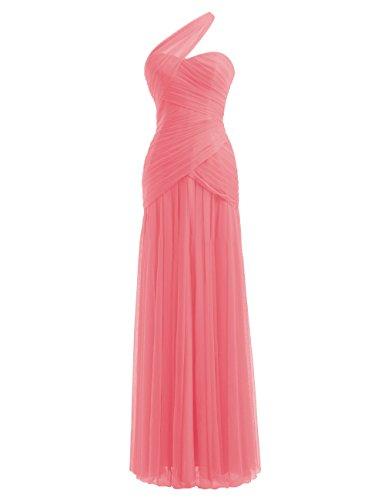 Diyouth One Shoulder Sleeveless Pleats Long Chiffon Bridesmaid Dress Coral Size 6