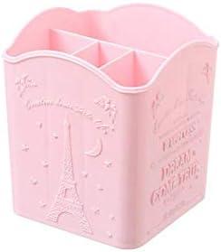Nette rosa Eisen Turm Relief Mädchen Kosmetik Aufbewahrungsbox Desktop-Stifthalter Bürstenhalter